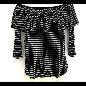 AE Striped Off the Shoulder Top with Sleeves